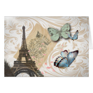 postmark scripts butterfly Paris Effiel Tower Card