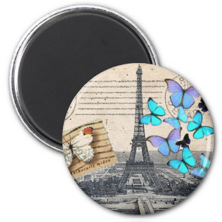 postmark scripts butterfly Paris Effiel Tower Magnet