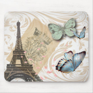 postmark scripts butterfly Paris Effiel Tower Mouse Pad