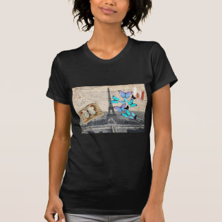 postmark scripts butterfly Paris Effiel Tower T-Shirt