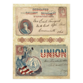 Postmarked Civil War Envelopes featuring Columbia Postcard