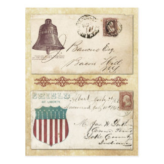 Postmarked Civil War Envelopes with Liberty Bell Postcard