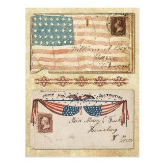Postmarked Civil War Envelopes with the U.S. Flag Postcard