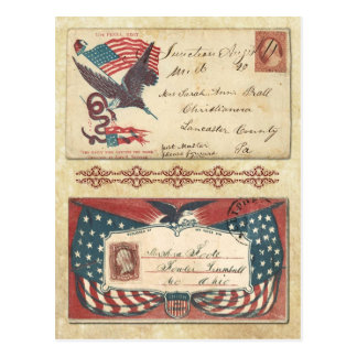 Postmarked Civil War envelopes with U.S. Flag Postcard