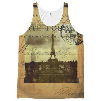 Postmarked Paris All-Over Print Tank Top