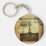 Postmarked Paris Basic Round Button Keychain