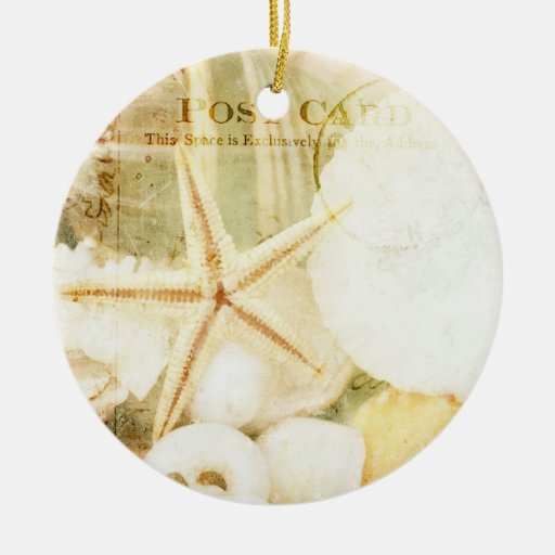 Postmarked Starfish Double-Sided Ceramic Round Christmas Ornament