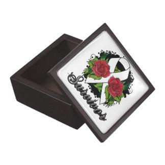 Postpartum Depression Survivor Rose Grunge Tattoo Premium Trinket Boxes