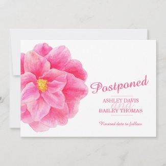 Postponed pink camellia wedding cancellation announcement