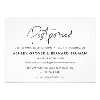 Postponed wedding New Date announcement card