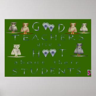 POSTR.6002.OWLS.36x24.GREEN Poster