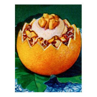 Postre anaranjado de Delite del vintage de la comi Tarjetas Postales