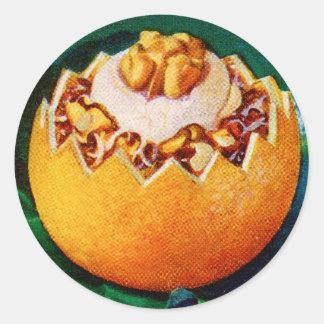 Postre anaranjado de Delite del vintage de la Pegatina Redonda