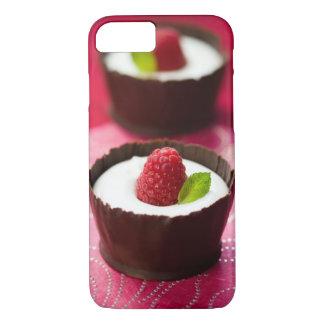 Postre blanco del mousse de chocolate funda iPhone 7