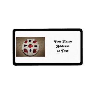 Postre de la tapioca etiquetas de dirección
