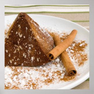 Postre de la torta de chocolate del canela póster