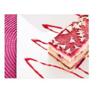 Postre de la torta de la frambuesa tarjeta postal