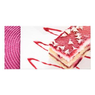 Postre de la torta de la frambuesa tarjetas fotograficas