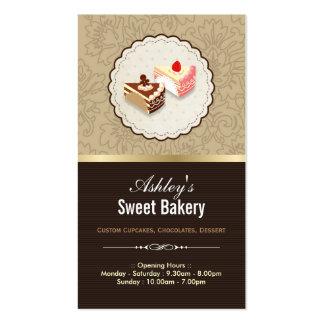 Postre de las magdalenas de los chocolates dulces tarjetas de visita