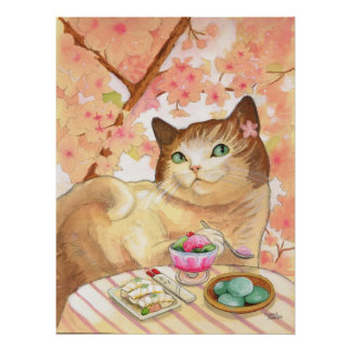 Postre del gato del sushi primero poster