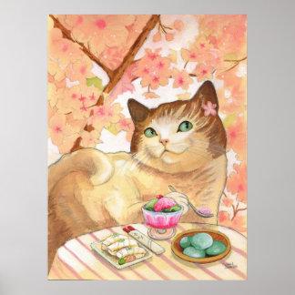 Postre del gato del sushi primero póster