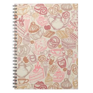 Postre del modelo de la comida del Doodle Notebook