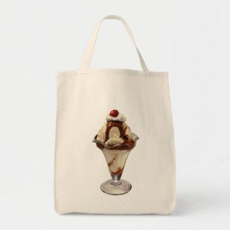 Postre del vintage; Cereza caliente del helado del Bolsa