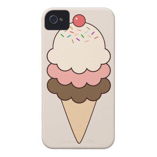 Postre femenino lindo del helado del cono de Case-Mate iPhone 4 coberturas