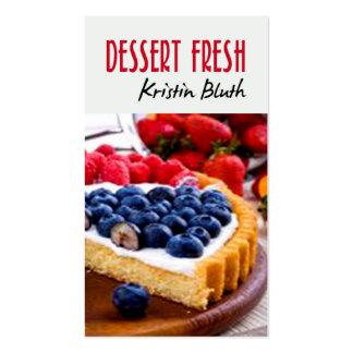 Postre fresco, pastel de queso, chef de repostería tarjetas de visita