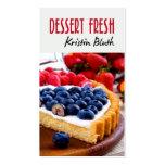 Postre fresco, pastel de queso, chef de tarjetas de visita