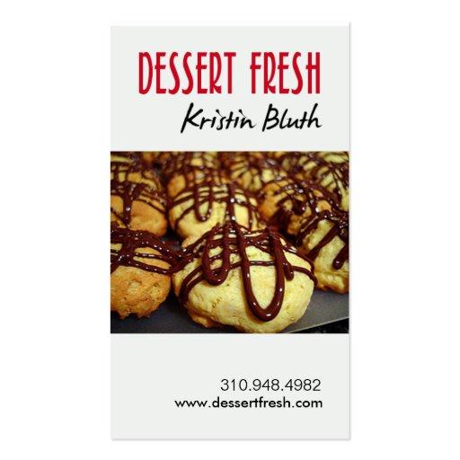 Postre fresco, pasteles, chef de repostería, tarjetas de visita