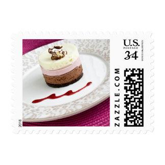 Postre napolitano de la crema batida sellos postales