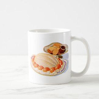 Postre retro de la sorpresa del melocotón de la co taza