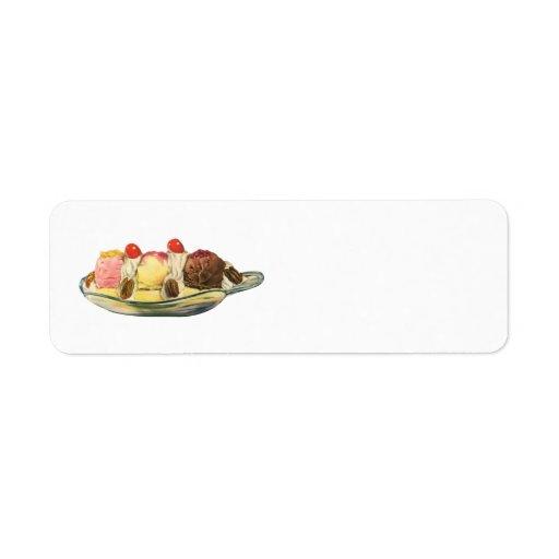 Postres de la comida del vintage, cerezas de la etiqueta de remite