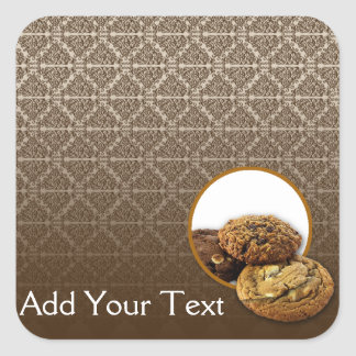 Postres del damasco del chocolate pegatinas cuadradas personalizadas