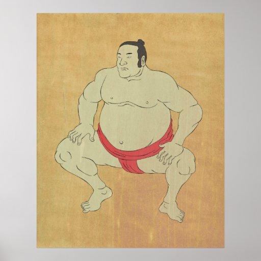 postura que lucha squating del luchador japonés de posters