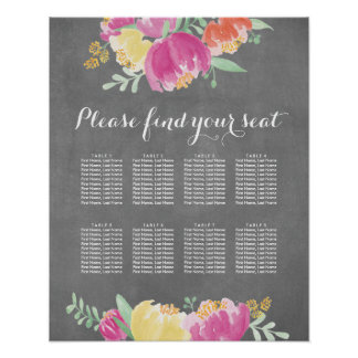 Posy Garden Seating Chart Poster