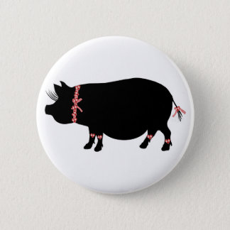 Pot Bellied Pig (Red Ribbons) Pinback Button