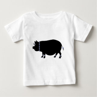 Pot Belly Pig Girl in Blue Baby T-Shirt