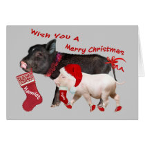 Pot Belly Pig Merry Christmas Card
