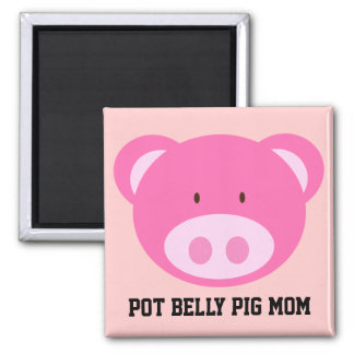 Pot Belly Pig Mom 2 Inch Square Magnet