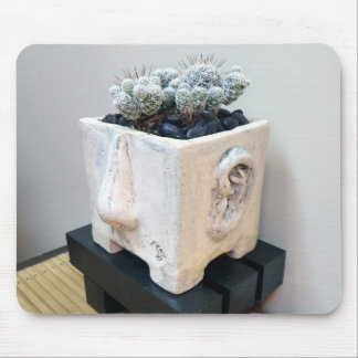 'Pot Head' with Cactus by Succulent Designs Mouse Pad