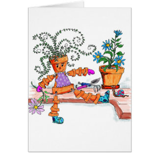 Pot lady greeting card