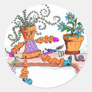 Pot lady round sticker