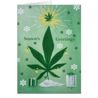 Pot Leaf Marijuana cannabis christmas tree card