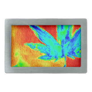 Pot Leaves In Heated Up Image Rectangular Belt Buckles