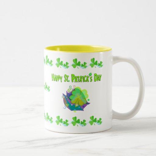 Pot o gold end of rainbow, shamrock boarder w- ... coffee mugs
