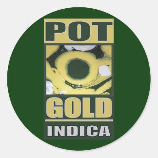 POT O GOLD INDICA CLASSIC ROUND STICKER