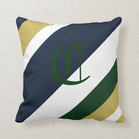 Pot o' Gold Monogrammed Striped Throw Pillow