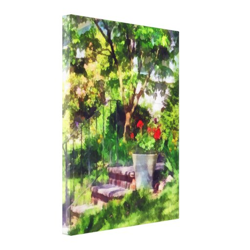 Pot of Geraniums Near Steps Gallery Wrap Canvas